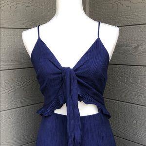Main Strip Navy Blue Tie Front Maxi
